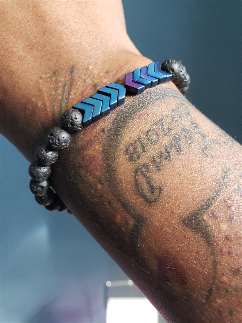 Poshfeel 8mm Lava Stone Essential Oil Diffuser Bracelets Healing Balance Yoga Magnet Arrow Beads Bracelet Men Jewelry MBR180251