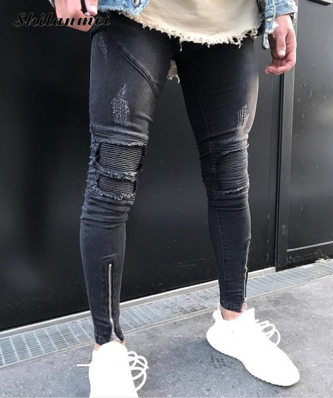 High Quality Men Skinny Tapered Knee Leather Biker Jeans Men 2017 Fashion Hip Hop Stretch Ankle Zipper Jeans Calca Masculina