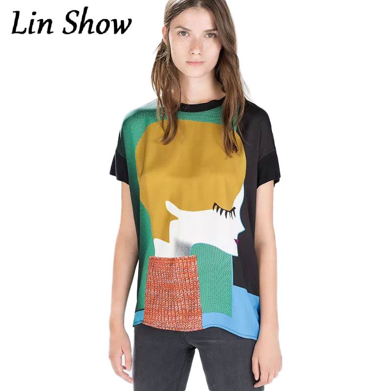 0121d2e7473 Newest 2016 Fashion Women T Shirt Vintage Girl s Head Portrait Printed Tee  Tops Summer Style Knitted Short Sleeve Woman Clothes