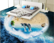 beibehang Advanced papel de parede home decoration painting beautiful wallpaper dolphin ocean world 3d flooring painting tapety  цена 2017