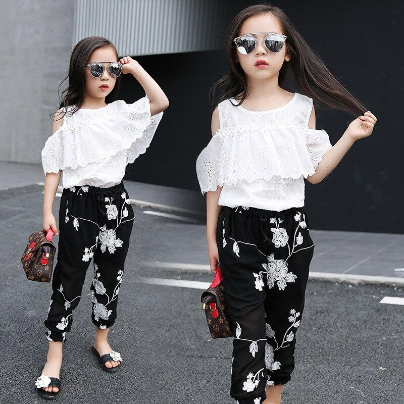 49d7aa40c 2019 Summer Kids Fashion Girls Clothing Sets 2 pcs White Lace Blouse Top &  Black Flowers
