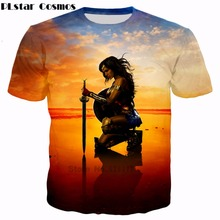 PLstar Cosmos 2019 summer Wonder Woman movie T-shirts star Gal Gadot and Chris Pine 3d print Men Women Fashion T shirts
