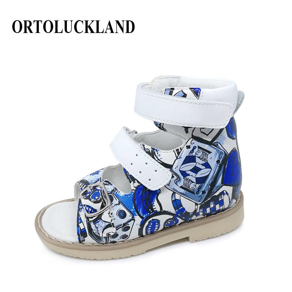 Jaunākie bērnu zēni drukāšanas ādas sandales bērniem ortopēdiskie apavi PU ādas sandales ortopēdiskie apavi bērniem