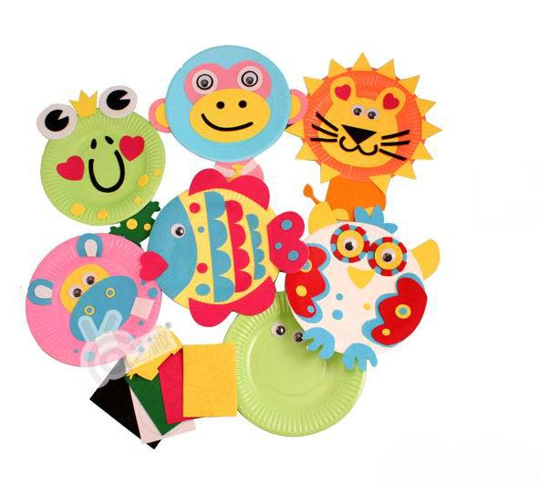 5pcs kids DIY cartoon animals drawing toys kindergarden handmade sticker colored paper plates educational toys Free
