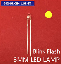 1000 pièces 3mm clignotant jaune LED(5000mcd)3mm clignotant jaune led flash eau claire lumière lampe transparents clair 3MM danshan Y