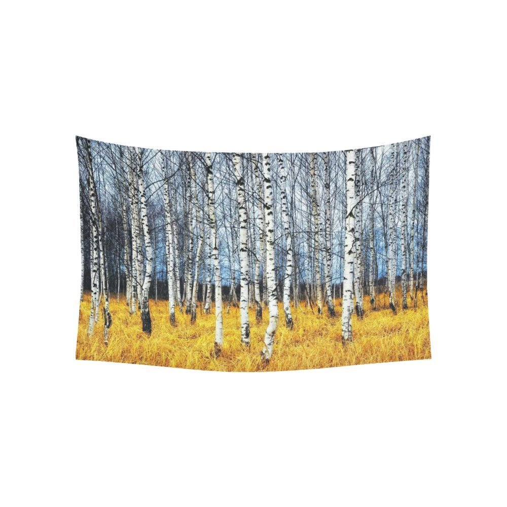 Autumn Landscape Wall Art Home Decor, Woodland Forest with Birch Tree Trunks Tapestry Wall Hanging Art Sets 60 X 40 Inches