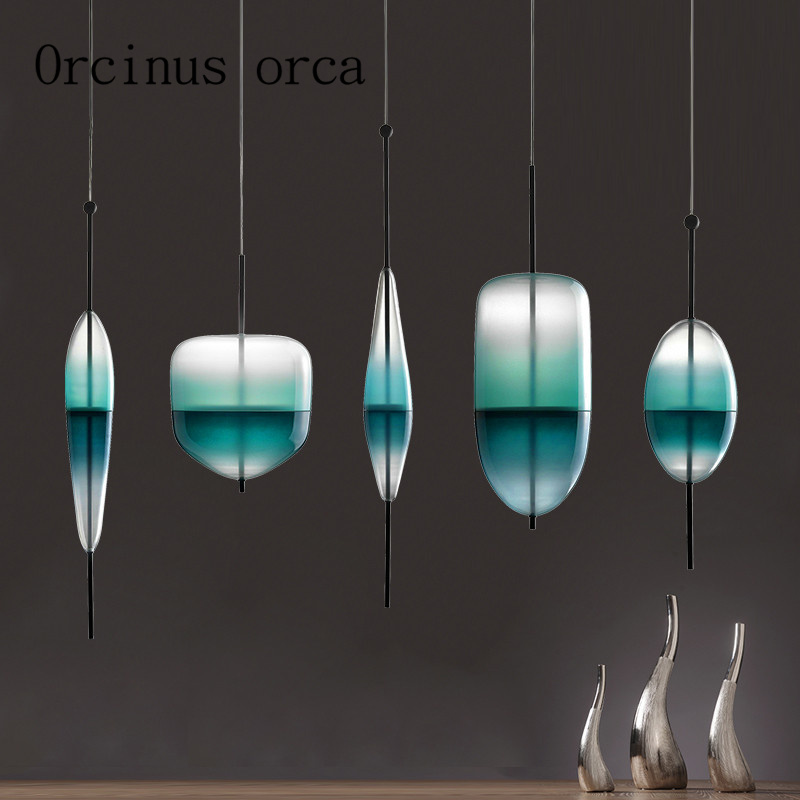 Nordic Modern Art Pendant Lamp Light Green Gradient Glass Chandelier Restaurant Bar Lamp Postmodern Creative Personality