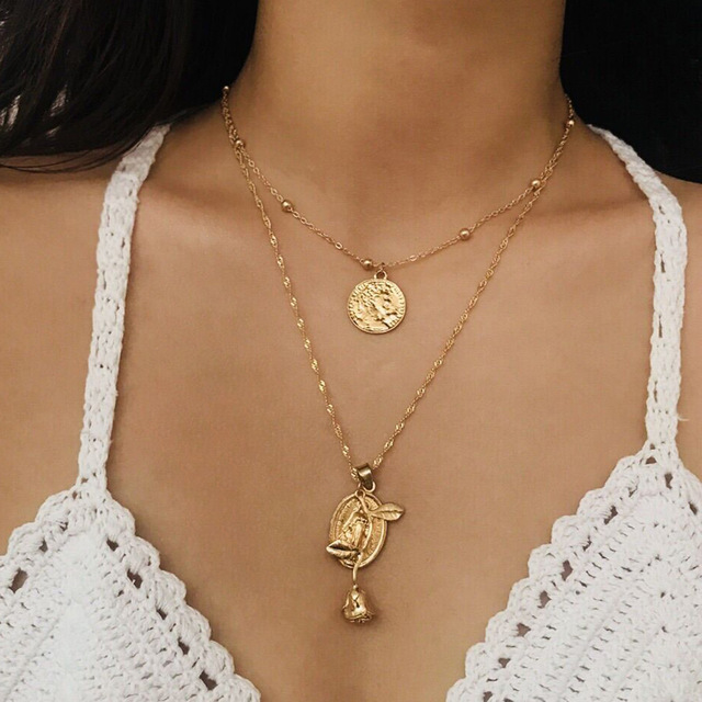 93041ccf7dc1c US $2.19  Rose Gold Silver Color Hanging Portrait Coin Chain Choker  Necklace woman Layered Charms Pendant Chokers Bohemia Jewelry-in Pendant  Necklaces ...