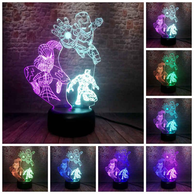 Flotador Iron Man Spiderman figura Pantera Negra 3D ilusión luz nocturna LED 7 colores luz mezclada vengadores modelo de superhéroe juguete