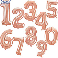 QGQYGAVJ 32inch Rose gold figures Foil Balloons Kids Party Decoration Happy Birthday Wedding Digital balloon Number 1pcs
