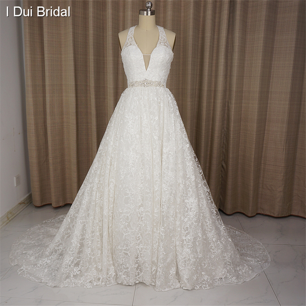 Halter wedding dress deep v neck ball gown lace real photo for Belt for lace wedding dress