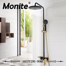 bathroom luxury rain mixer shower combo set wall mounted rainfall shower head system black gold plated shower faucet