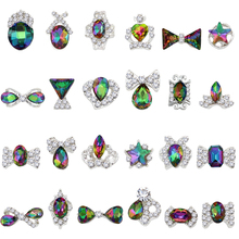 100 Pcs/Bag K9 Nail Art Crystal AB Gem Alloy Rhinestones Glass Stone Alloy Nail Art Crystal Rhinestone 3D For Nail Art Decoratio цена 2017