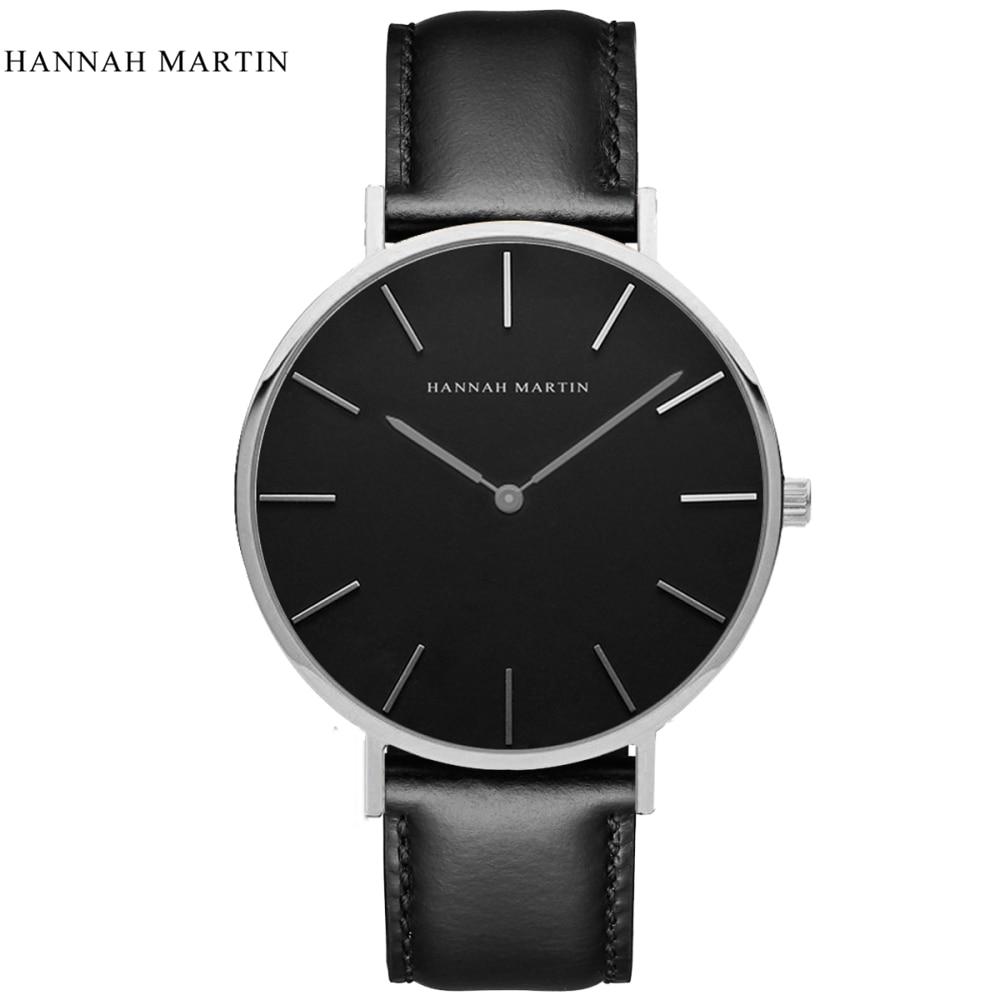 2017 New Designer HANNAH MARTIN Classical Male Men Women Ladi Top Brand Luxury Fashion Casual Quartz-watch Leather Wrist Watches 2