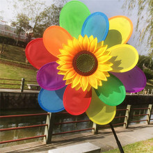 OOTDTY 1 Pc Home Garden Decor Yard Sunflower Windmill Colourful Wind  Spinner Kids Toy Home Decorations Ornaments