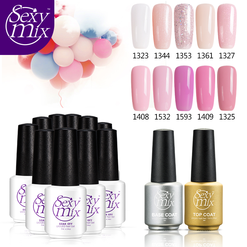 Sexy Mix 7ML 12pcs/set soak off UV Led nail gel polish set top base coat 3d nail art DIY salon gel varnishes manicuer lacquer dn2 39 mix 2 3mm solvent resistant neon diamond shape glitter for nail polish acrylic polish and diy supplies1pack 50g