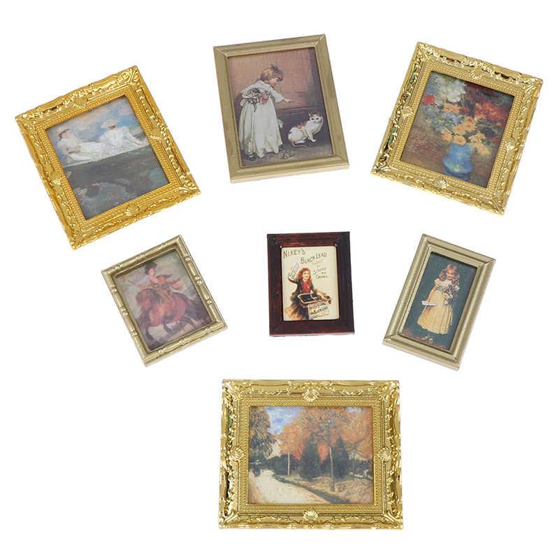 1:12 Dollhouse Miniatuur Olieverf Decoratie Poppenhuis Accessoires Schilderen