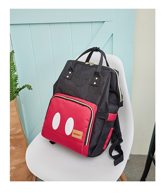 HTB13A RXUCF3KVjSZJnq6znHFXan Disney Minnie Mickey Classic Red Diaper Bags 2PCS/SET Mummy Maternity Backpack Nappy Bag Large Capacity Baby Bag Travel 3D Doll