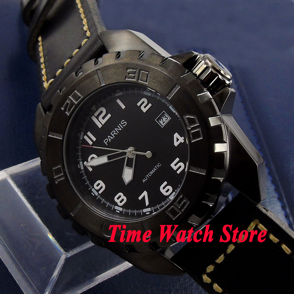 Parnis 45mm black dial luminous metal turning bezel PVD case 21 jewels MIYOTA 821A Automatic movement mens watch 424Parnis 45mm black dial luminous metal turning bezel PVD case 21 jewels MIYOTA 821A Automatic movement mens watch 424