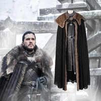 Manluyunxiao Game of Thrones T Hemd Cosplay Kostüme Jon Schnee Kostüm Outfit mit Mantel Halloween Kleidung Ault Männer Party