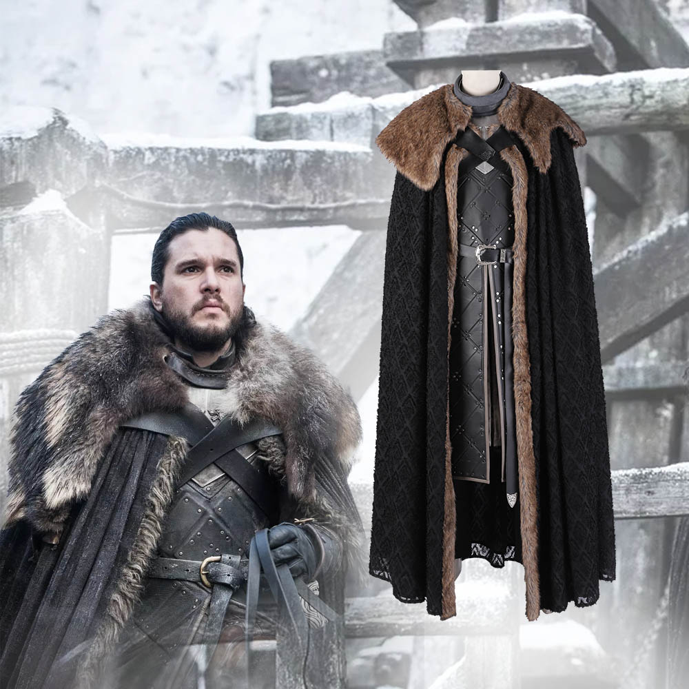 Manluyunxiao Game of Thrones t-shirt Cosplay Costumes Jon neige déguisement tenue avec manteau Halloween vêtements Ault hommes fête