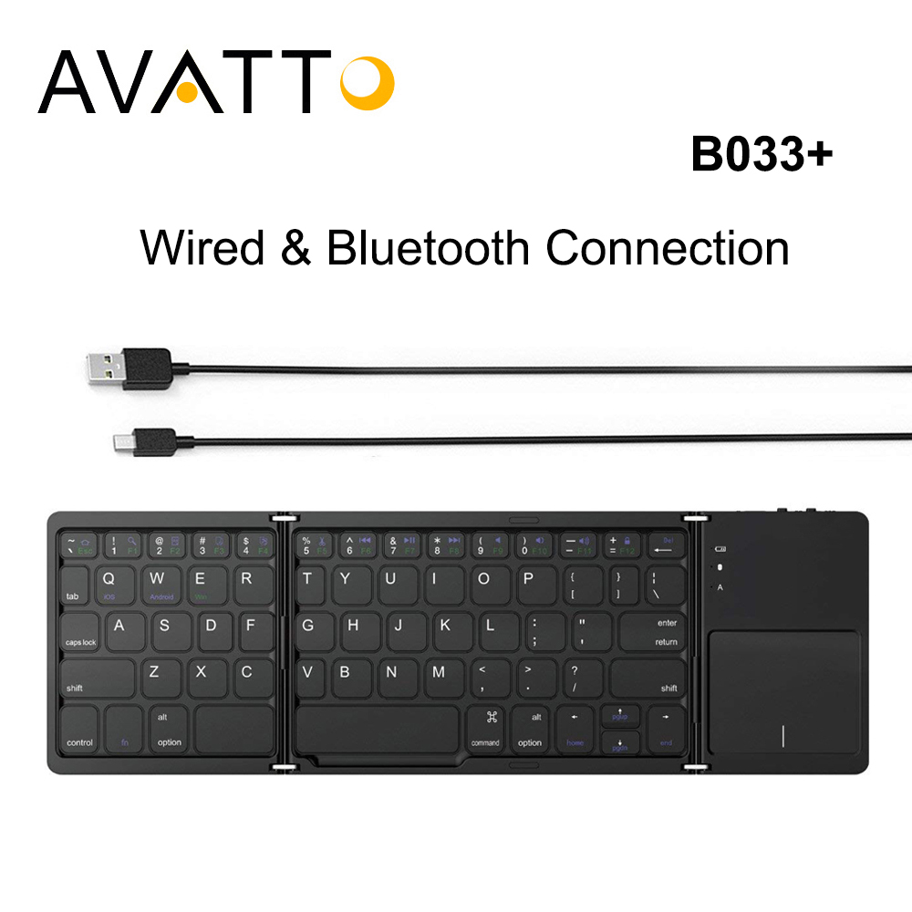 AVATTO B033+ Folding Mini Keyboard Bluetooth Foldable Wireless Keypad with Touchpad for Windows,Android,ios Tablet ipad Phone [avatto] a20 pocket leather folding mini keyboard bluetooth foldable wireless keypad for iphone android phone tablet ipad pc