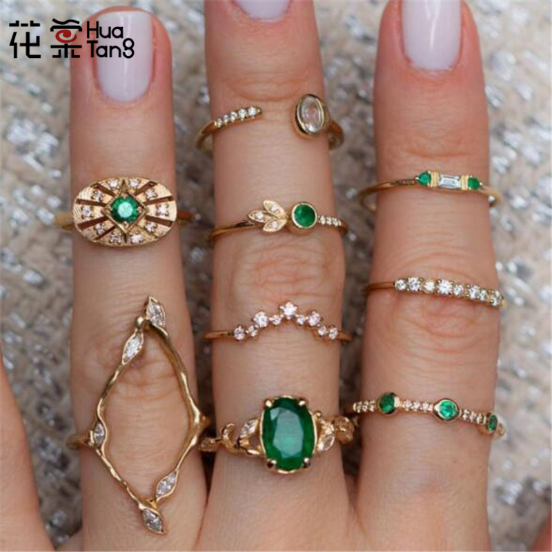 Huatang Wave-Ring-Set Crystal Midi Green Jewelry Knuckle Flower Geometric Rhinestone