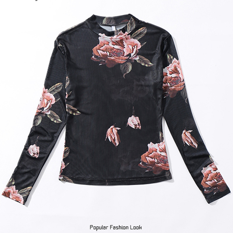 2018 spring Women Long-sleeve 3D Flower Sweet mesh Blouses net Perspective Ladies Sexy Floral Shirts + Sling