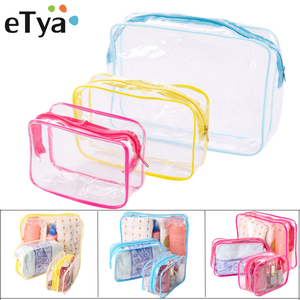 eTya Transparent Cosmetic bag Men Women Makeup bag PVC Clear Travel Make Up Organizer Toiletry Storage Case Bath Wash pouch Tote(China)