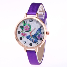 New Wrist look ahead to Girls Woman Clock Quartz Timer PU Leather-based butterfly Dial Wacth Girls Timepiece