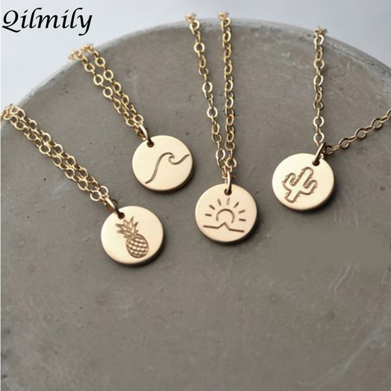 Summer Sun Pineapple Round Charm Chokers Pendant Necklaces for Women Men Gold Color Wave Cactus Drop Jewelry Gifts Souvenirs Hot capa gucci iphone x
