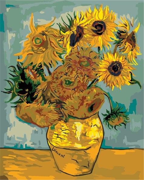 Rahmenlose diy malerei durch zahlen handgemalte rahmenlose van gogh sonnenblumen abstrakte malerei wandmalereien dekorative malerei B009
