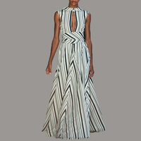 HIGH QUALITY 2017 Summer New Fashion Women S Elegant Sleeveless Black White Geometry Striped Maxi Long