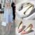 Moda de Impresión Flock Punta estrecha Tacones Altos Mujeres Zapatos de Marca Shallow Boca Mediana Altura Mujeres de Las Señoras Bombas Tacones Zapatos de Tamaño 43