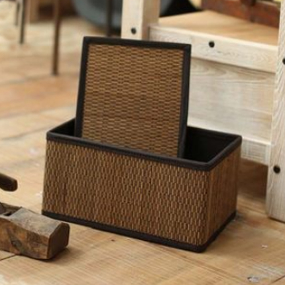 Bamboo Storage Baskets Bins with Lid Rectangular Clothing Neatening toy storage basket extra large Middle small organizador box in Storage Baskets from Home Garden