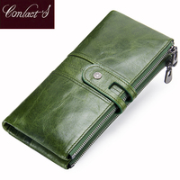 Long Wallet Women Genuine Leather Clutch Wallets Brand Design Hign Quality Fashion Card Holder Zipper Coin