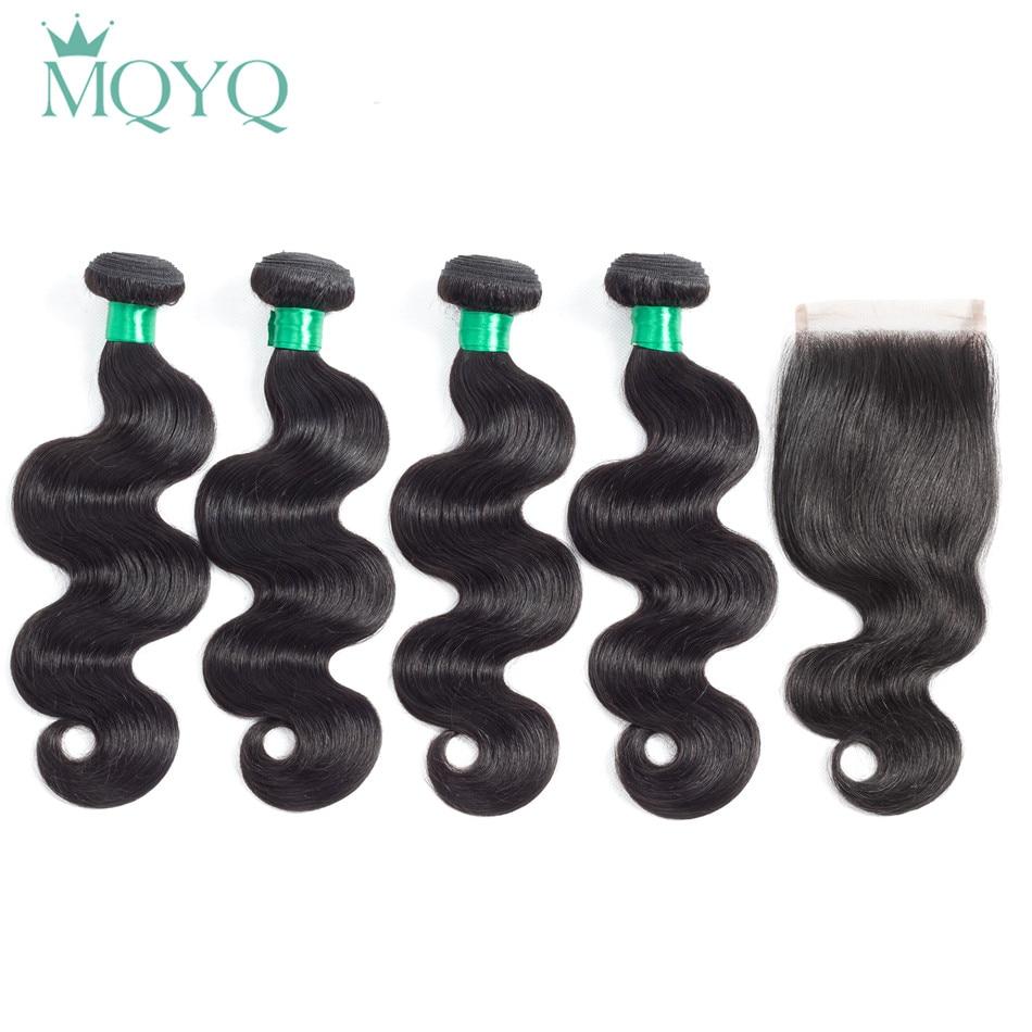 Body Wave 4 Bundles With Closure Indian Hair Weave Bundle Non Remy Free Part 5pcs Human Hair Bundle With Lace Closure