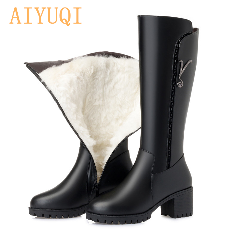 AIYUQI Women Long boots 2019New Genuine Leather Female Winter Boots Fashion Big Size 35-43 Wool Thick Snow Shoes Women
