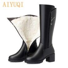 Купить с кэшбэком OPZC Women knight boots 2019 new genuine leather female winter boots, fashion big size 35-43 wool thick snow shoes women