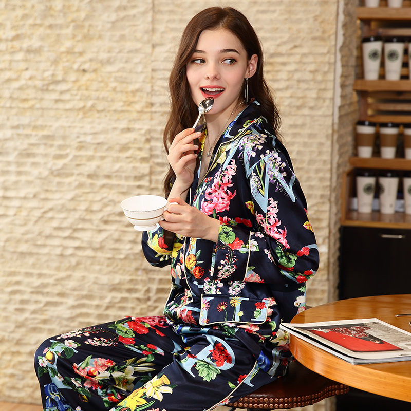 Ladies Silk Satin   Pajama     Set   Two Pieces Print Sleepwear   Set   Top&Pant Long Sleeve Pijama Feminino Spring Autumn Pyjama For Women