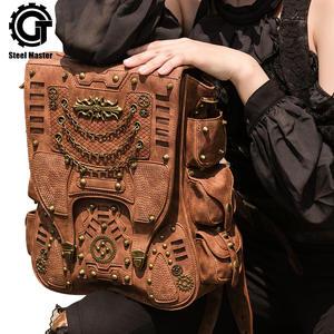 0279b1b5d8 steelsir Retro Rivet PU Leather Travel Bag Women Backpack