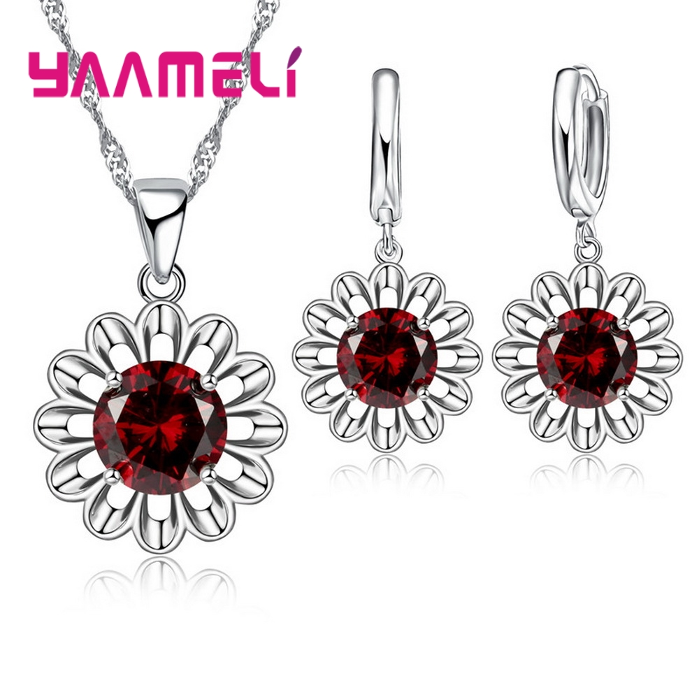Factory Price Fashion Jewelry Sets For Women 925 Serling Silver Red Wine Color Sunflower CZ Necklace Pendant Earrings