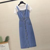 Summer Woman Denim Overall Dress 2019 Korean Edition Sleeveless Spaghetti Strap Single breasted Button Slim Fit Long Sundress