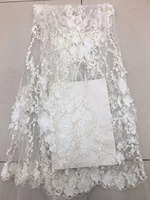 7yards 3D lace fabric with bead, Off white lace fabric for haute couture dress, sequens mesh bridal lace fabric 3D flowers