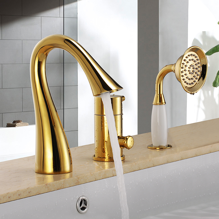 Free ship ti-gold 3 pcs widespread Waterfall Bathroom Bath Roman Tub Filler Faucet Swan designFree ship ti-gold 3 pcs widespread Waterfall Bathroom Bath Roman Tub Filler Faucet Swan design