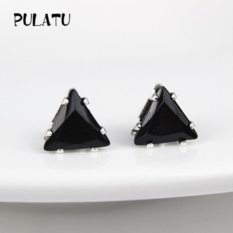 9 Color Fashion Triangle Earring For Women 8mm Simulated Zircon Small Stud Earrings Minimalist Jewelry PULATU