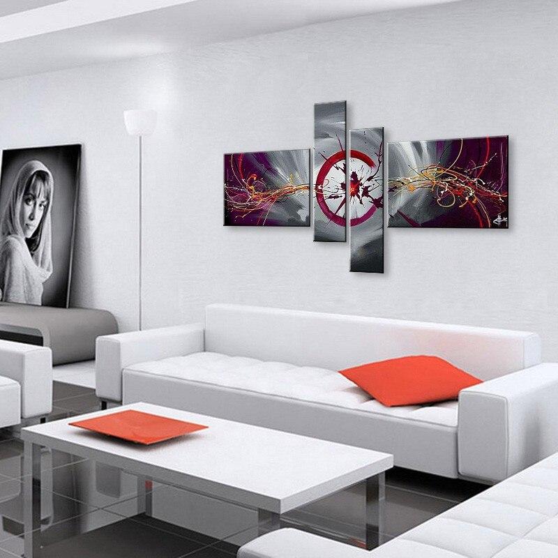 US $66.6 40% OFF|Hand Bemalt Abstrakten Ölgemälde Auf Leinwand Rot Schwarz  Weiß moderne Ölgemälde Set Dekoration Wandkunst Für Wohnzimmer Roon-in ...