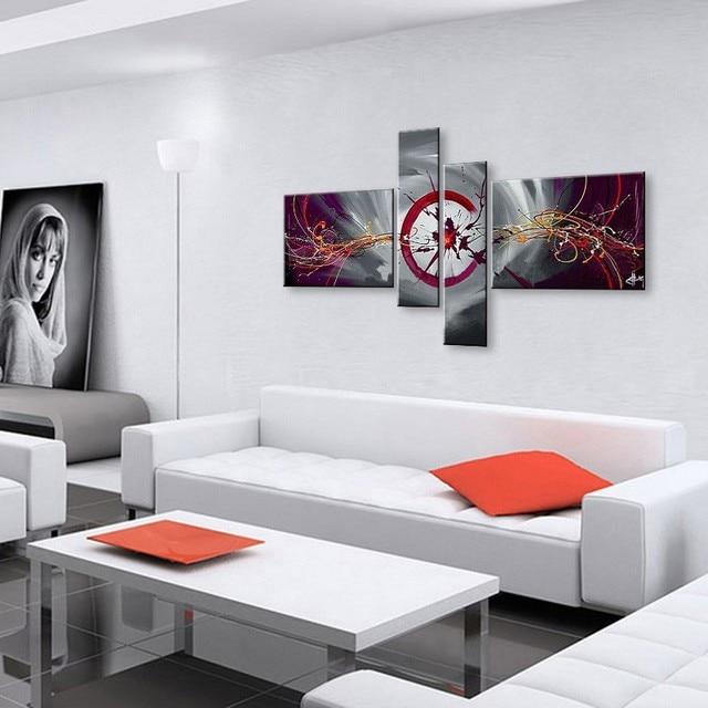 Hand Bemalt Abstrakten Ölgemälde Auf Leinwand Rot Schwarz Weiß Moderne  Ölgemälde Set Dekoration Wandkunst Für Wohnzimmer