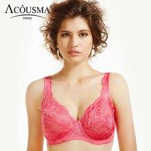 ACOUSMA Women Plus Size Bra 75 80 85 90 D E Cup Push Up Sexy Brassiere Big Size Lingerie Soft Floral Lace Embroidery Underwear