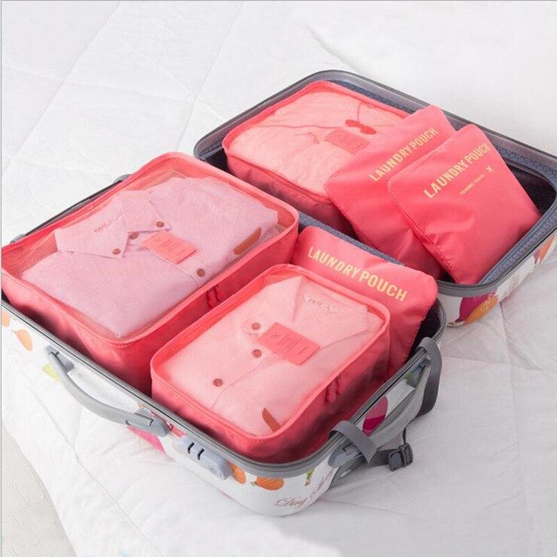 6PCS / LOT 크리 에이 티브 홈 가구 여행 스토리지 가방 6 세트 대용량 스토리지 가방 워시 메이크업 주최자에 대 한